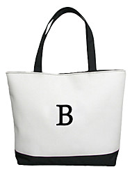 Personalized Gift Canvas Horizontal Flat Tote Bag with Capital Letter