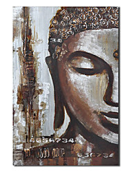 Hand Painted Oil Painting People Face of Buddha with Stretched Frame