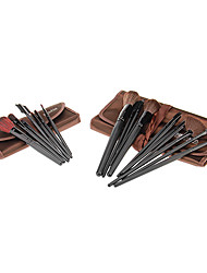 MEGAGA Dark Brown Case 2in1 Cosmetic Brush Set