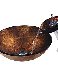 Copper RoundTempered Glass Vessel Sink with Waterfall Faucet ,Pop - Up drain and Mounting Ring