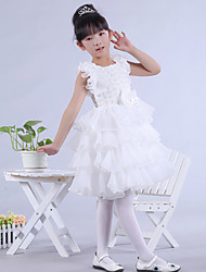 Dress - White Ball Gown Jewel Knee-length Lace/Organza/Satin