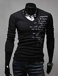 A & W Herren Schwarz Englisch Sticken Big Size V-Ausschnitt Langarm-T-Shirt