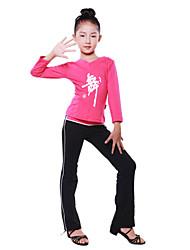 Dancewear Lycra Muster V-Ausschnitt Ballroom Dance Top für Kids