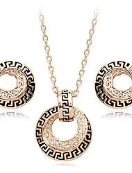 liga de ouro do vintage com crytal e banhada a ouro (brinco e colar) jóias et vintage