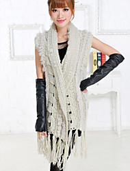 Fur Vest With Sleeveless Turndown Collar Rabbit Fur Party/Casual Vest(More Colors)