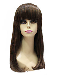 Capless Synthetic Medium Length Straight Brown Wig