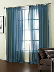 AnTi™ Linen Solid Blue Sheer Curtain (Two Panels)