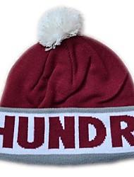 Pompom Beanie avec la rayure Knited Cap Keep Warm acrylique souple Tuque Bonnet à pompon Taille unique Brown avec des centaines Gris