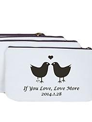 Personalized Gift  Creamy Bird Pattern Canvas Change Purse