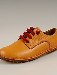 Simul première couche de cuir Lazy Chaussures Souliers (jaune)