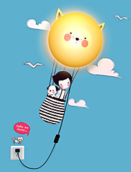 Cartoon Hot-air Balloon 3D Stickers with Wall Lamp 220V~50Hz