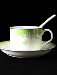 Green Cherry Blossom Coffee Mug,Porcelain 5oz