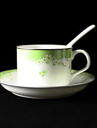 Verde Cherry Blossom tazza di caffè, porcellana 5 once