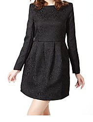 Robe Aux femmes Grandes Tailles Travail , Couleur Pleine Col Ras du Cou Mini Coton / Polyester