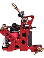 10 Wrap Dual Coils Long and Short Tattoo Machine for Shader(Red)