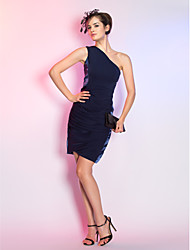 Cocktail Party / Holiday Dress - Dark Navy Plus Sizes / Petite Sheath/Column One Shoulder Knee-length Jersey / Stretch Satin