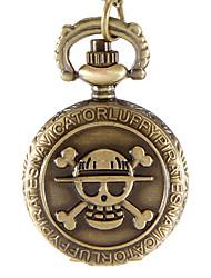 Mulheres Relógio de Bolso Quartzo Lega Banda Vintage Caveira Bronze marca