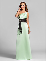 Floor-length Satin Bridesmaid Dress - Sage Plus Sizes / Petite A-line One Shoulder