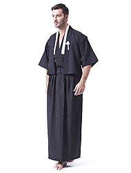 Black Satin Japanese Samurai Kimono Men's Costume