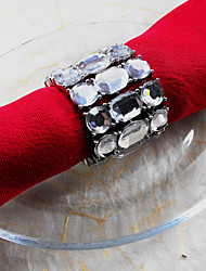 Metal Crystal Wedding Napkin Ring Set Of 6, Dia 4.5cm
