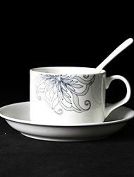 Floral tazza di caffè, porcellana 5 once