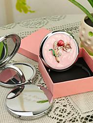 Cadeau personnalisé Fleur Rose Style Chrome miroir compact