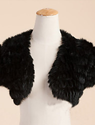 Fur Wraps / Wedding  Wraps Shrugs Short Sleeve Feather/Fur Black / White Wedding / Party/Evening / Casual