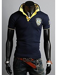 Herren Kurzarm Fashion Casual Polo-T-Shirt blau / weiß / Beigegray