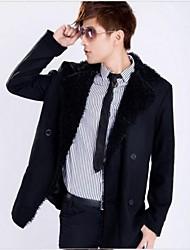 Men's Long Sleeve Regular Trench coat , Wool Blend Pure