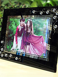 """8.75""""H Contemporary Style Crystal Black Table Top Picture Frame"""