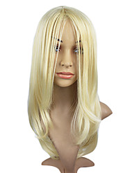 Light Blonde Straight Hair Wig Capless Synthetic Hair Wig