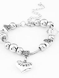 925 perles d'argent Amour Bracelet Strand coeur