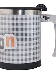 Automatic Stirring Grid Coffee Mug,Metallic 14oz