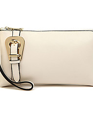 Mega Classic Genuine Leather Buckle Décor Shoulder/Crossbody Bag(White)