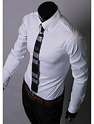 Blanc foncé de diamant de A & W Hommes Chemise à carreaux manches longues
