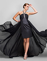 A-Line Halter Asymmetrical Georgette Formal Evening Military Ball Dress with Crystal Detailing Ruching by TS Couture®
