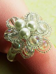 Glasperlen Blumenserviettenring Set 6, Acryl Dia 4,5 cm