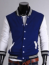 STJY stand Casual Col Baseball Jacket (Bleu)