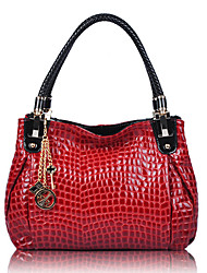 Yibaobao Women's Cow Leather Snake Tote Red Bag