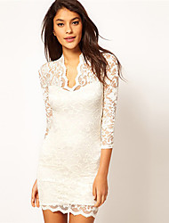 Women's Solid/Lace Black/Blue/Pink/Red/White Dress , Lace/Bodycon Deep V ½ Length Sleeve Lace