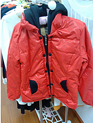 KALINKA Fashion Turn-Down Collar Slimming Solid Color Long Sleeve Hooded Pad(Red)