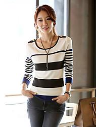 Women's Round Collar Slim Stripe Sweaters