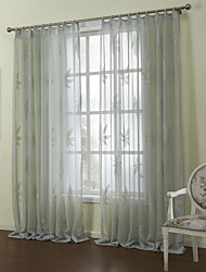 Country Two Panels Leaf Grey Bedroom  Sheer Curtains Shades