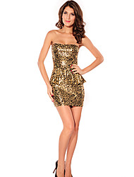 Women's Strapless Ruffle Mini Dress , Polyester Gold Print/Party/Sexy