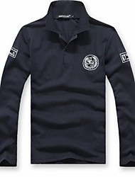 Men's Long Sleeve Polo , Polyester/Cotton Casual/Work/Sport Print