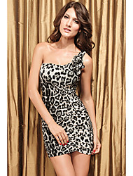 Mujeres Animal Print Backless del mini vestido