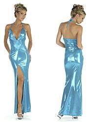 Aqua Mermaid Shiny Blue Floor Length Evening Dress Party Gown