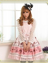 Women's Lace/Print Pink Dress , Cute/Lace/Vintage Halter Sleeveless Pleated/Lace/Bow
