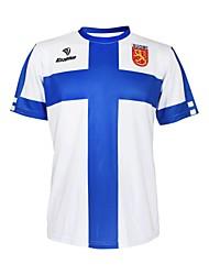 KOOPLUS - сборной Финляндии полиэстер + лайкра с коротким рукавом синий + белый Велоспорт Футболка