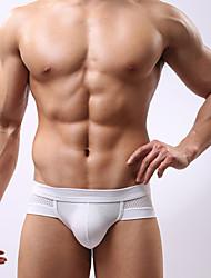 Soutong st Men's Mesh Pattern Pure Color Boyshorts(White)